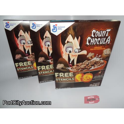 LOT OF 3 General Mills Count Chocula Chocolatey Cereal With Marshmallows
