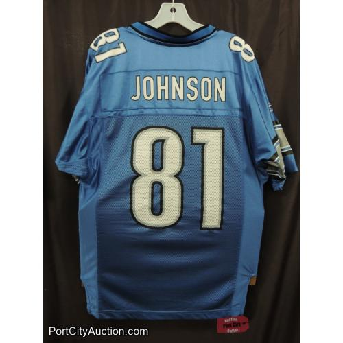 Detroit Lions #81 Calvin Johnson Blue NFL Reebok Football Jersey Adult Size S