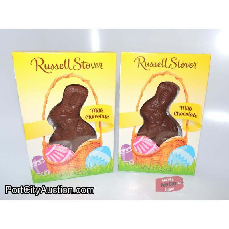 Lot of 2 Russell Stover Solid Milk Chocolate Bunny